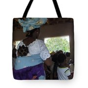 Teacher Backing Her Baby  Tote Bag