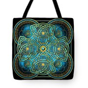 Teal Blue And Gold Celtic Cross Tote Bag