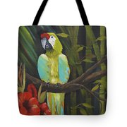 Teal Chartreuse Parrot Tote Bag
