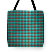 Teal Red And Black Plaid Fabric Background Tote Bag
