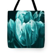 Teal Tulip Flowers Tote Bag