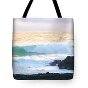 Teal Wave On Golden Waters Tote Bag