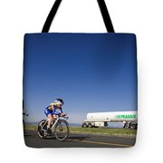 Team Time Trial Chasing A Tanker Truck Tote Bag