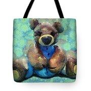 Teddy Bear In Blue Tote Bag