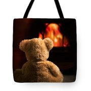 Teddy By The Fire Tote Bag