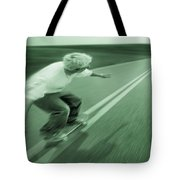 Teenager Skateboarding Down Road Tote Bag