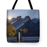 Telescope And Sunrise Tote Bag