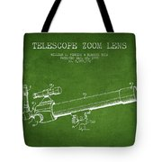Telescope Zoom Lens Patent From 1999 - Green Tote Bag