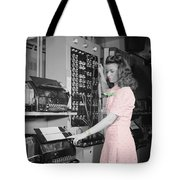 Teletype Girl Tote Bag