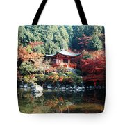Temple Behind A Pond, Daigo-ji Temple Tote Bag