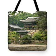 Temple By Lake And Forest Seoul South Korea Tote Bag