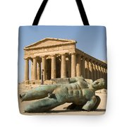 Temple Of Concord And Icarus Fallen Tote Bag by Rachel Down
