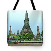 Temple Of The Dawn-wat Arun From Waterways Of Bangkok-thailand Tote Bag