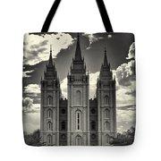 Temple Square Black And White Tote Bag