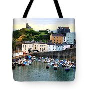 Tenby Harbour Panorama Tote Bag