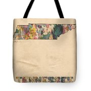 Tennessee Map Vintage Watercolor Tote Bag