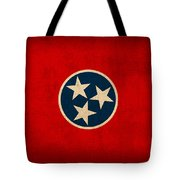 Tennessee State Flag Art On Worn Canvas Tote Bag