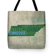 Tennessee Word Art State Map On Canvas Tote Bag by Design Turnpike