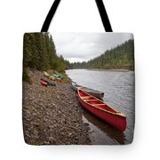 Tents And Canoes At Mcquesten River Yukon Canada Tote Bag