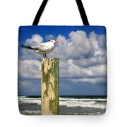 Tern On A Piling Tote Bag