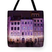 Terraced Historic Houses At Night In Warsaw Tote Bag