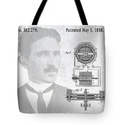 Tesla And The Electro Magnetic Motor Patent Tote Bag