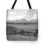 Teton Landscape With Fence - Black And White Tote Bag
