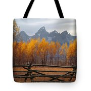1m9354-teton Range In Autumn From Jackson Hole Ranch Country Tote Bag