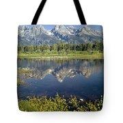 4m9310-teton Range Reflection, Blacktail Pond, Wy Tote Bag