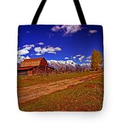 Tetons And Gambrel Barn Perspective Tote Bag