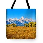 Tetons Autumn Panorama Tote Bag