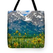 Tetons Peaks And Flowers Center Panel Tote Bag