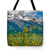 Tetons Peaks And Flowers Right Panel Tote Bag