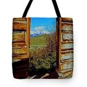 Tetons Through Log House Window Tote Bag