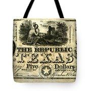 Texas Banknote, 1840 Tote Bag