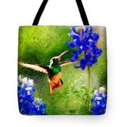 Da161 Texas Bluebonnet Hummingbird By Daniel Adams Tote Bag