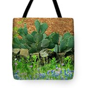 Texas Bluebonnets And Cactus Tote Bag