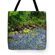 Texas Bluebonnets And Stone Wall Tote Bag