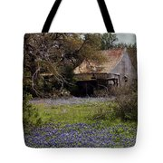 Texas Bluebonnets With Old Abandoned Shack Tote Bag
