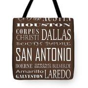 Texas Cities On Brown Tote Bag