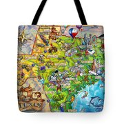 Texas Illustrated Map Tote Bag