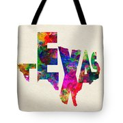 Texas Typographic Watercolor Flag Tote Bag