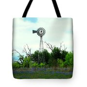 Texas Windmill And Bluebonnets Tote Bag