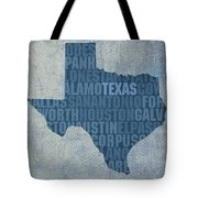 Texas Word Art State Map On Canvas Tote Bag