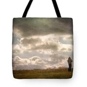 Texting On The Edge Tote Bag by Gary Slawsky