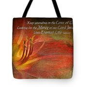 Textured Red Daylily With Verse Tote Bag