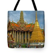 Thai-khmer Pagoda And Golden Chedis At Grand Palace Of Thailand  Tote Bag