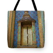 Thai-kmer Pagoda Window At Grand Palace Of Thailand In Bangkok Tote Bag