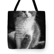 Thanksgiving Kitty Bw Tote Bag