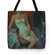 That Was A Lovely Lunch, 2008 Oil On Canvas Tote Bag